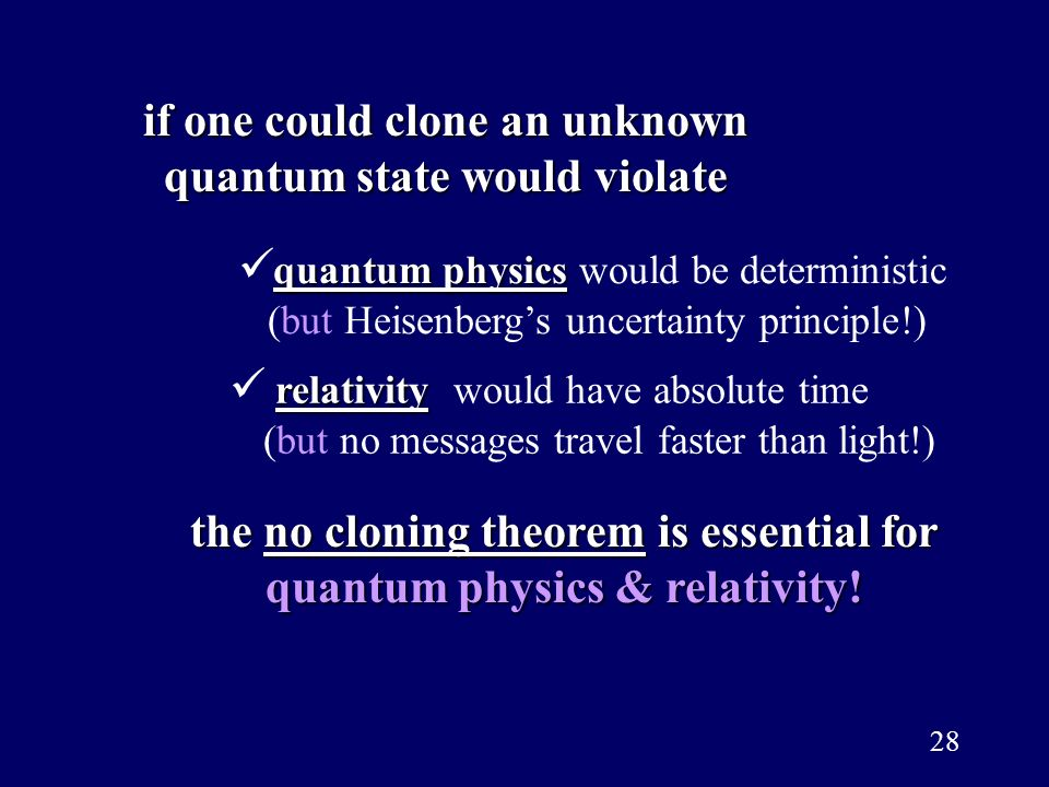 if one could clone an unknown quantum state would violate
