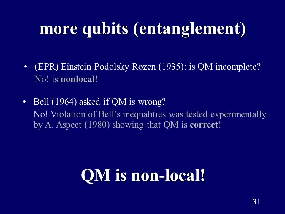 more qubits (entanglement)