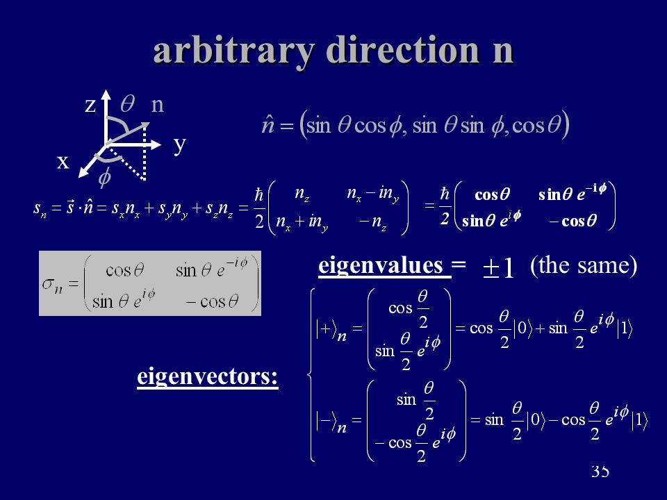 arbitrary direction n x z y n eigenvalues = (the same) eigenvectors: