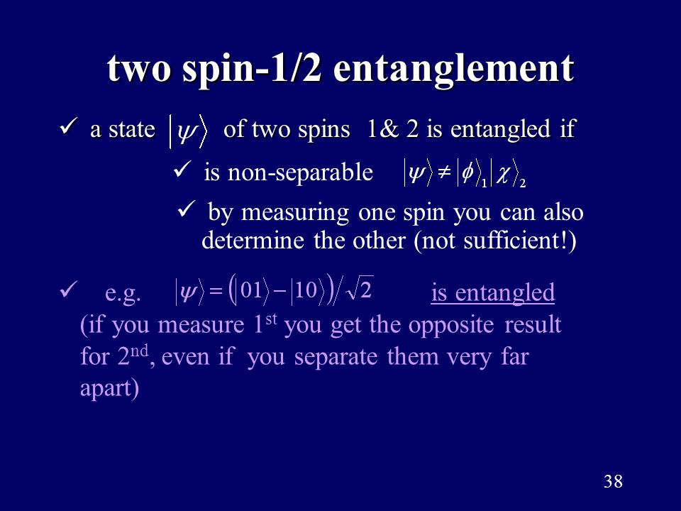 two spin-1/2 entanglement