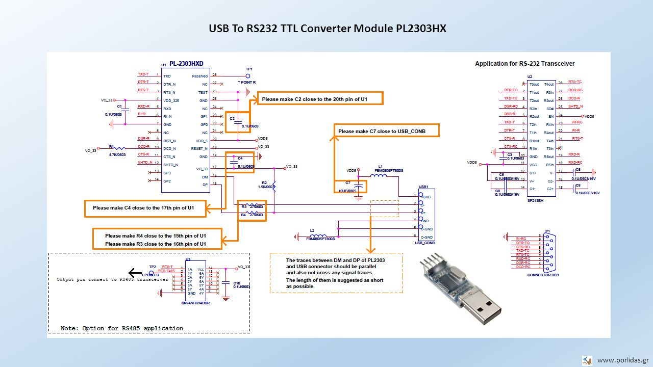 USB To RS232 TTL Converter Module PL2303HX