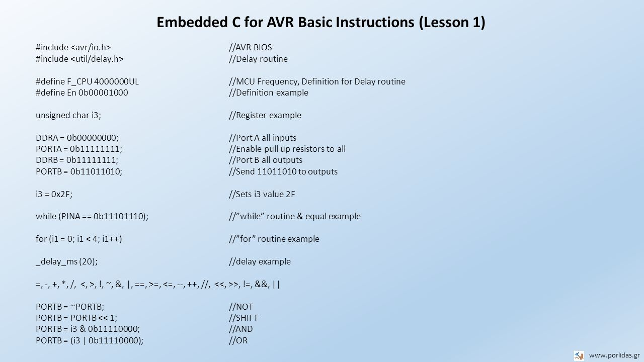 Embedded C for AVR Basic Instructions (Lesson 1)