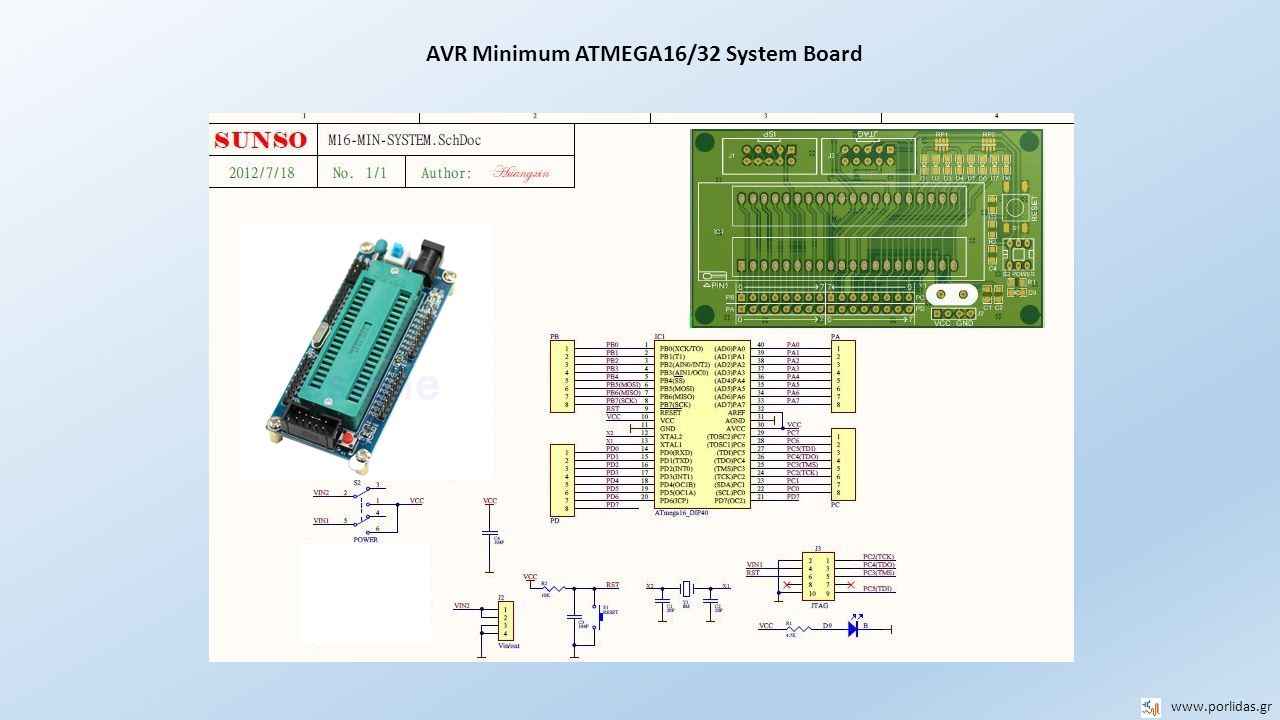 AVR Minimum ATMEGA16/32 System Board