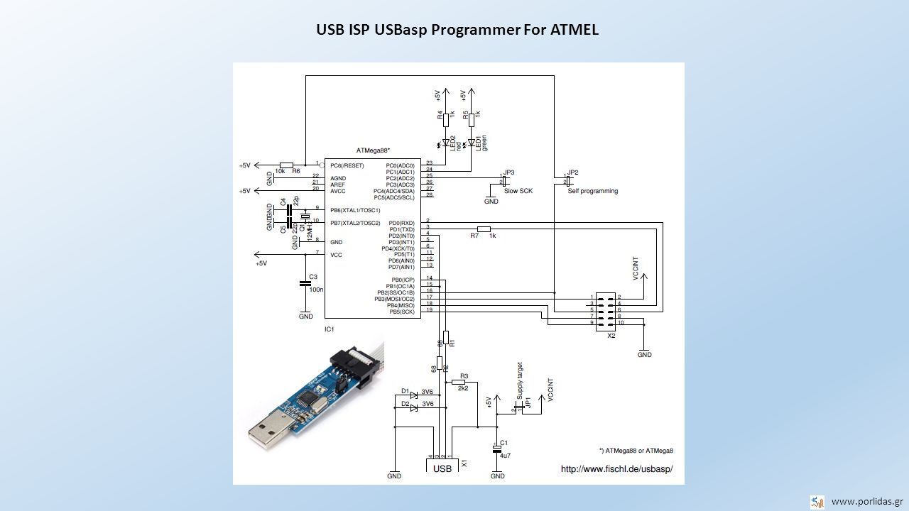 USB ISP USBasp Programmer For ATMEL
