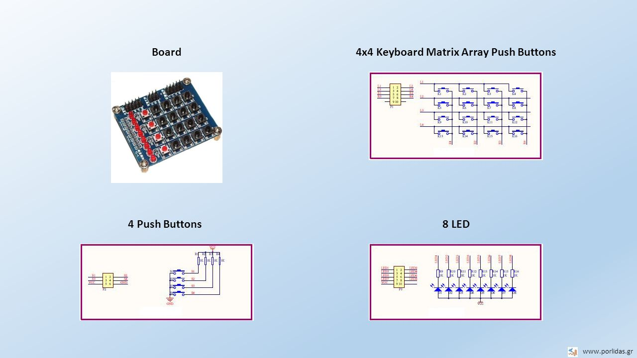 4x4 Keyboard Matrix Array Push Buttons