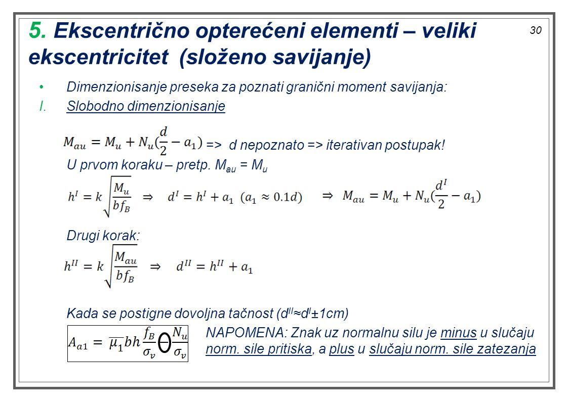 5. Ekscentrično opterećeni elementi – veliki ekscentricitet (složeno savijanje)