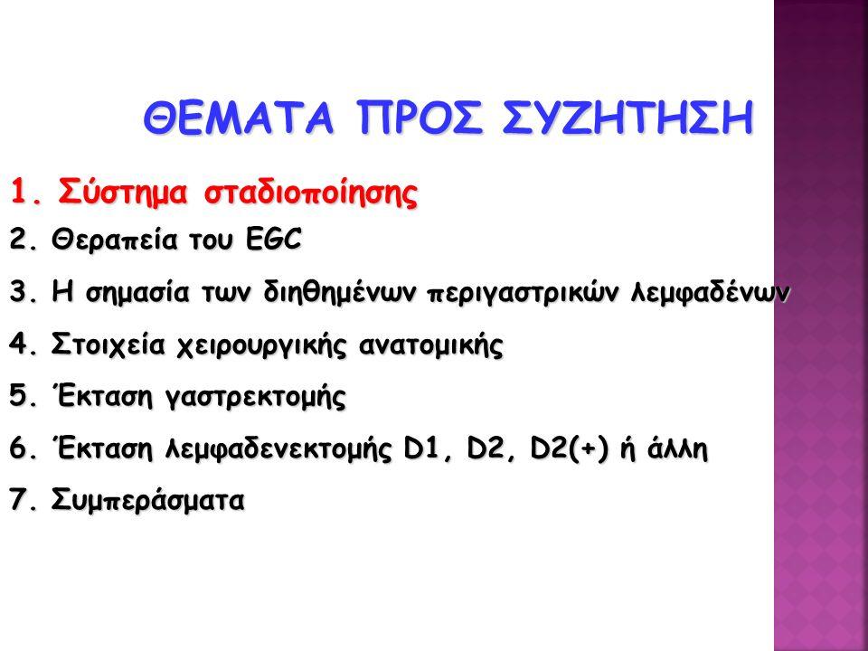 ΘΕΜΑΤΑ ΠΡΟΣ ΣΥΖΗΤΗΣΗ 1. Σύστημα σταδιοποίησης 2. Θεραπεία του EGC
