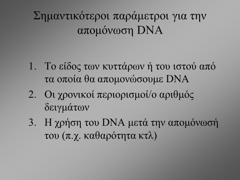 Σημαντικότεροι παράμετροι για την απομόνωση DNA