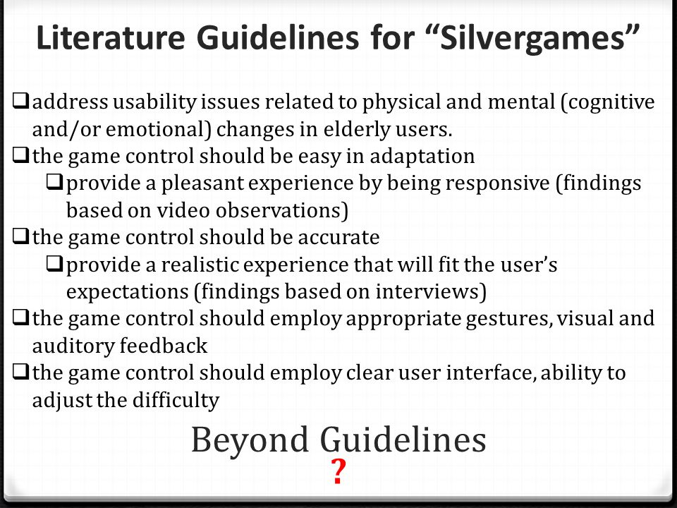 Literature Guidelines for Silvergames