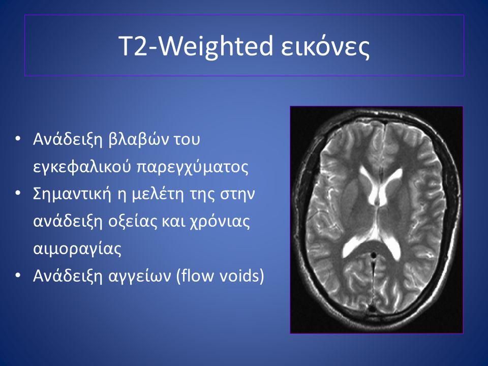 T2-Weighted εικόνες Ανάδειξη βλαβών του εγκεφαλικού παρεγχύματος