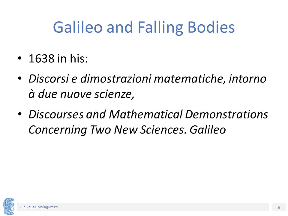 Galileo and Falling Bodies