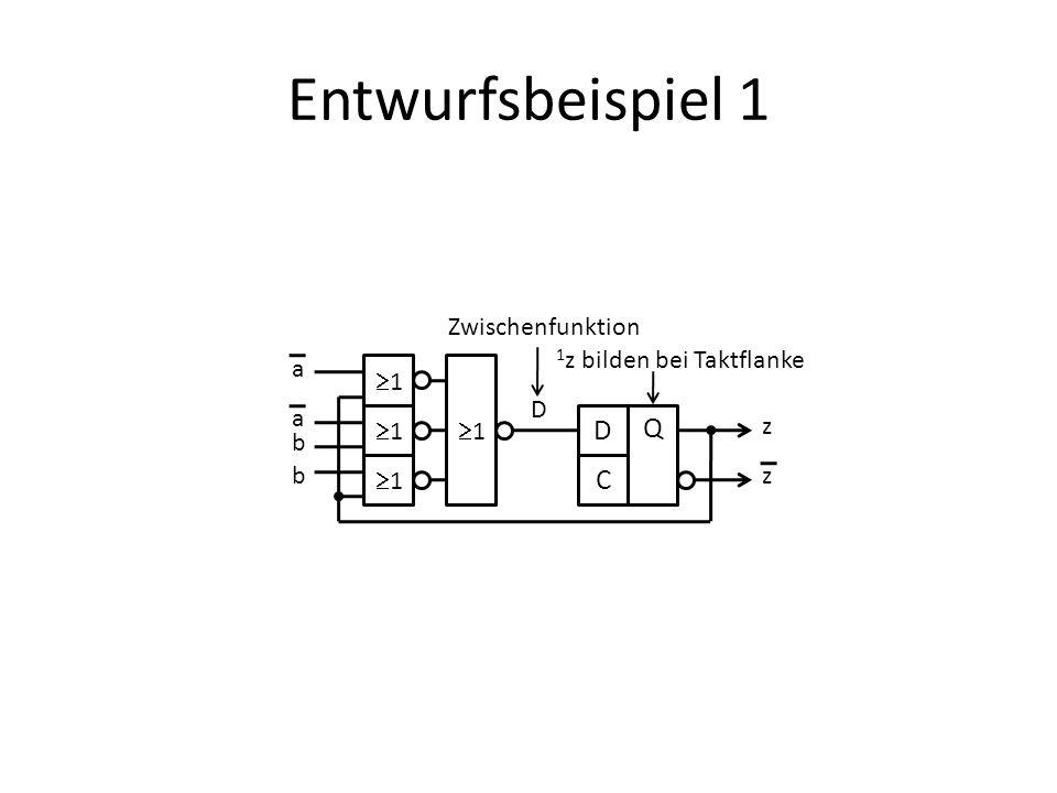 Entwurfsbeispiel 1 Q C Zwischenfunktion 1z bilden bei Taktflanke a 1