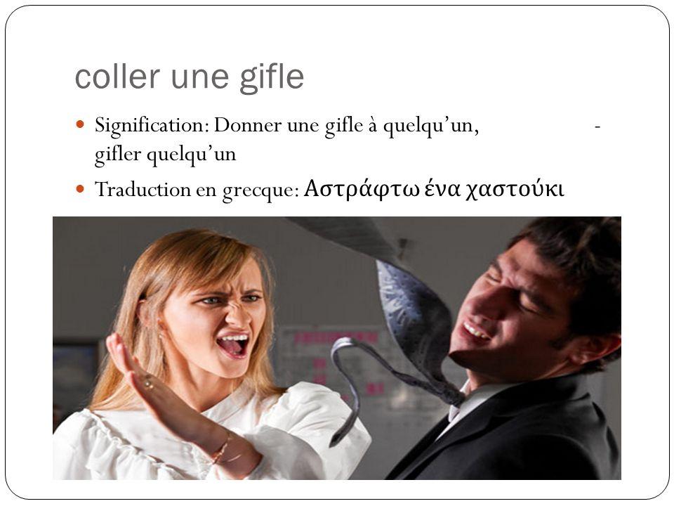 coller une gifle Signification: Donner une gifle à quelqu'un, - gifler quelqu'un.