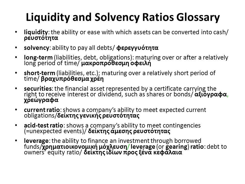 Liquidity and Solvency Ratios Glossary