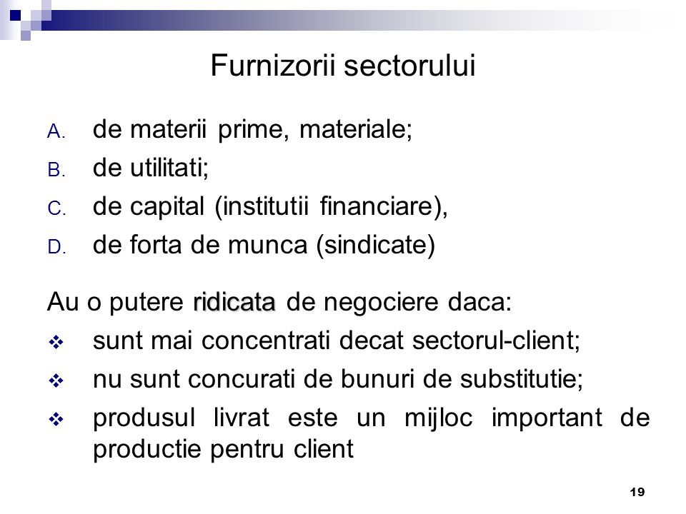 Furnizorii sectorului