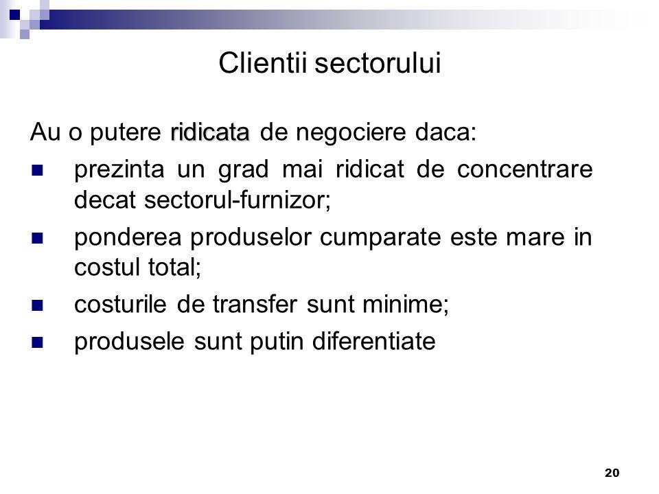 Clientii sectorului Au o putere ridicata de negociere daca: