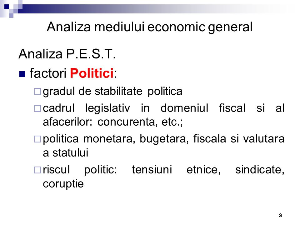 Analiza mediului economic general