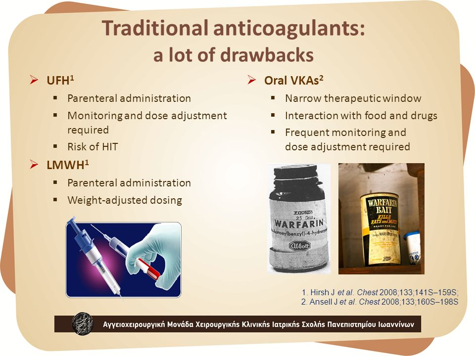 Traditional anticoagulants: a lot of drawbacks