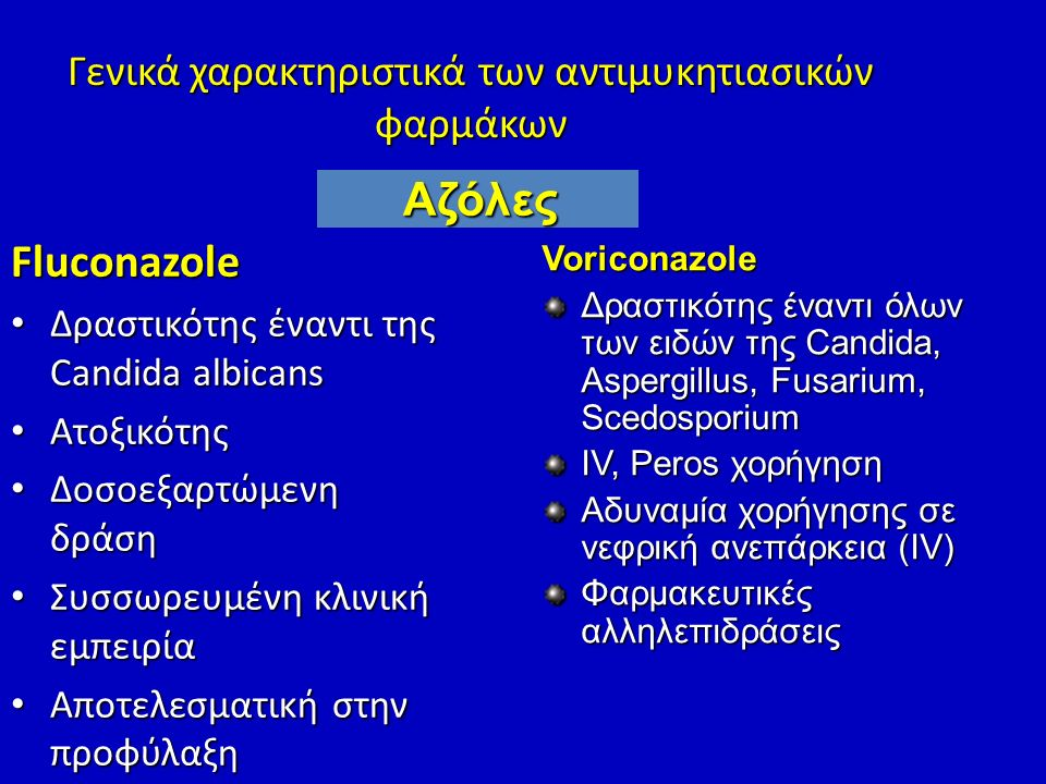Γενικά χαρακτηριστικά των αντιμυκητιασικών φαρμάκων
