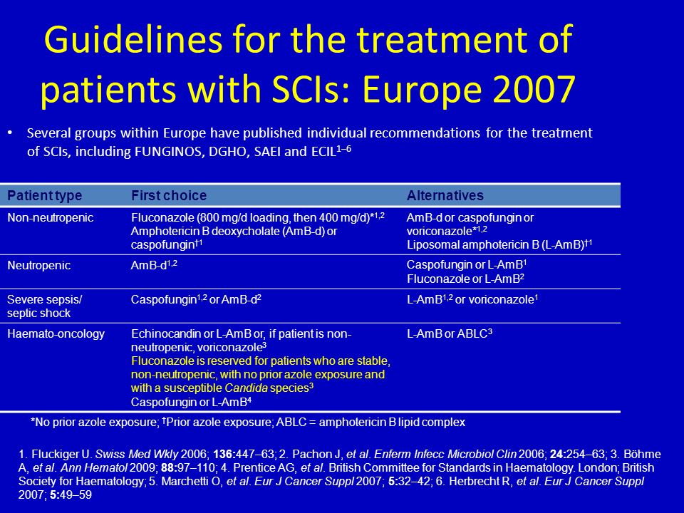 Guidelines for the treatment of patients with SCIs: Europe 2007
