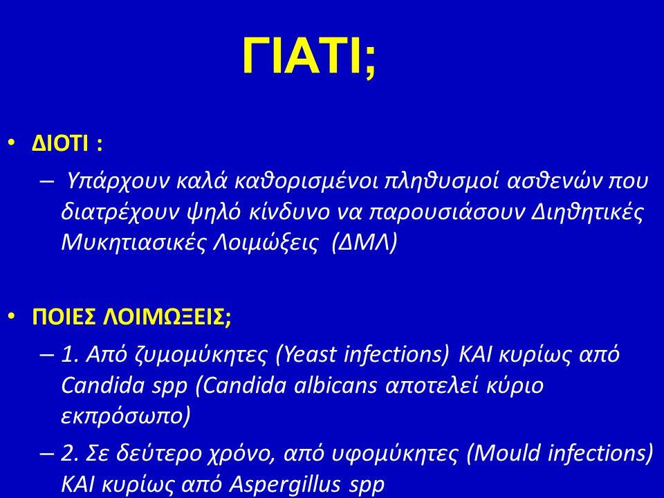 ΓΙΑΤΙ; ΔΙΟΤΙ : Υπάρχουν καλά καθορισμένοι πληθυσμοί ασθενών που διατρέχουν ψηλό κίνδυνο να παρουσιάσουν Διηθητικές Μυκητιασικές Λοιμώξεις (ΔΜΛ)