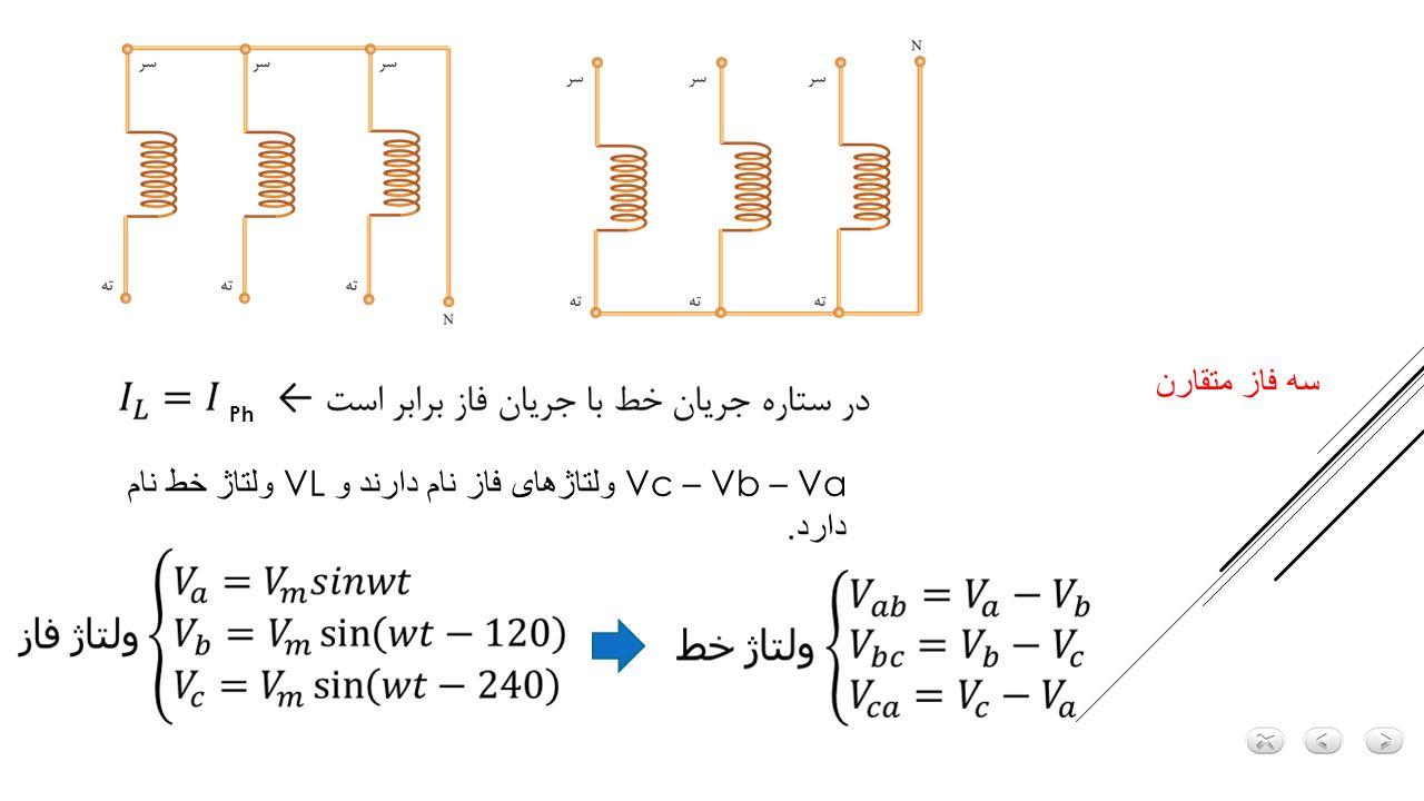 Va – Vb – Vc ولتاژهای فاز نام دارند و VL ولتاژ خط نام دارد.