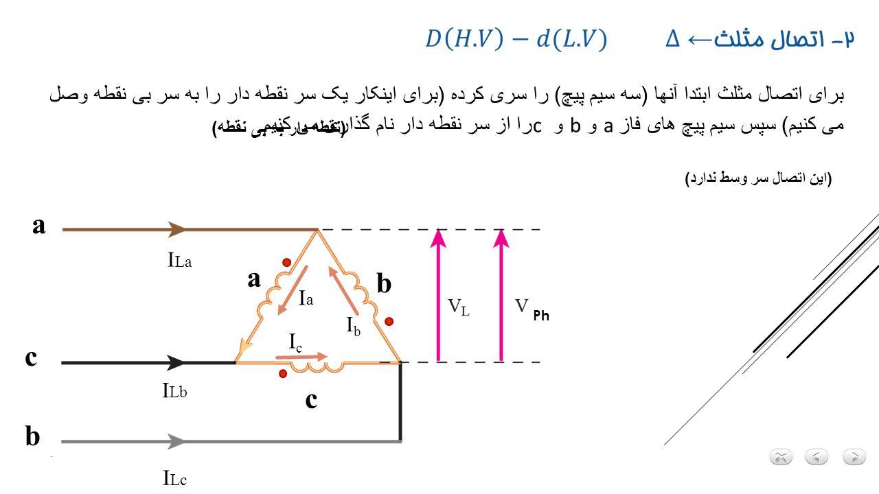 برای اتصال مثلث ابتدا آنها (سه سیم پیچ) را سری کرده (برای اینکار یک سر نقطه دار را به سر بی نقطه وصل می کنیم) سپس سیم پیچ های فاز a و b و c را از سر نقطه دار نام گذاری می کنیم.