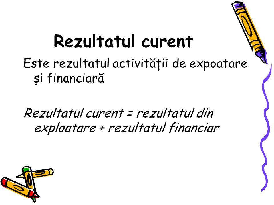 Rezultatul curent Este rezultatul activităţii de expoatare şi financiară.