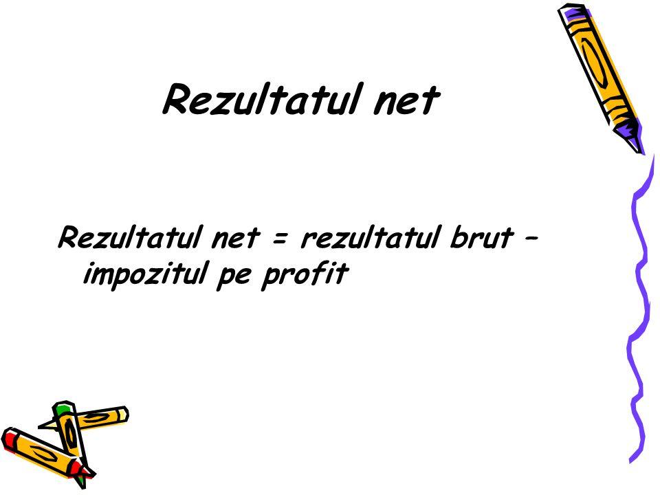 Rezultatul net Rezultatul net = rezultatul brut – impozitul pe profit