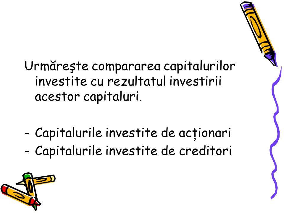 Urmăreşte compararea capitalurilor investite cu rezultatul investirii acestor capitaluri.