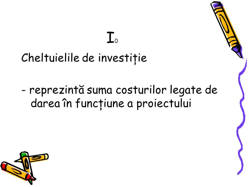 I0 Cheltuielile de investiţie