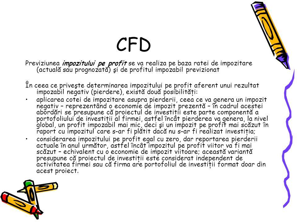 CFD Previziunea impozitului pe profit se va realiza pe baza ratei de impozitare (actuală sau prognozată) şi de profitul impozabil previzionat.