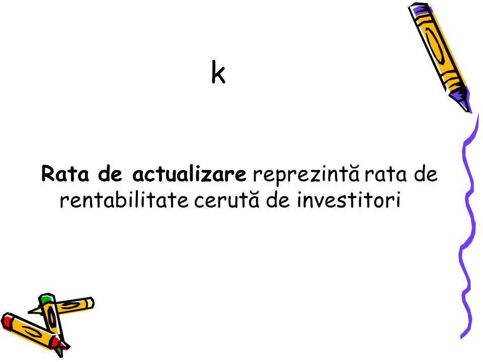 k Rata de actualizare reprezintă rata de rentabilitate cerută de investitori