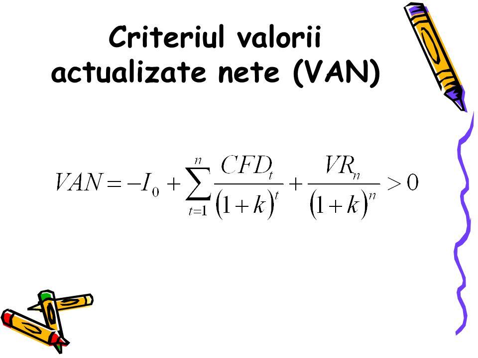 Criteriul valorii actualizate nete (VAN)