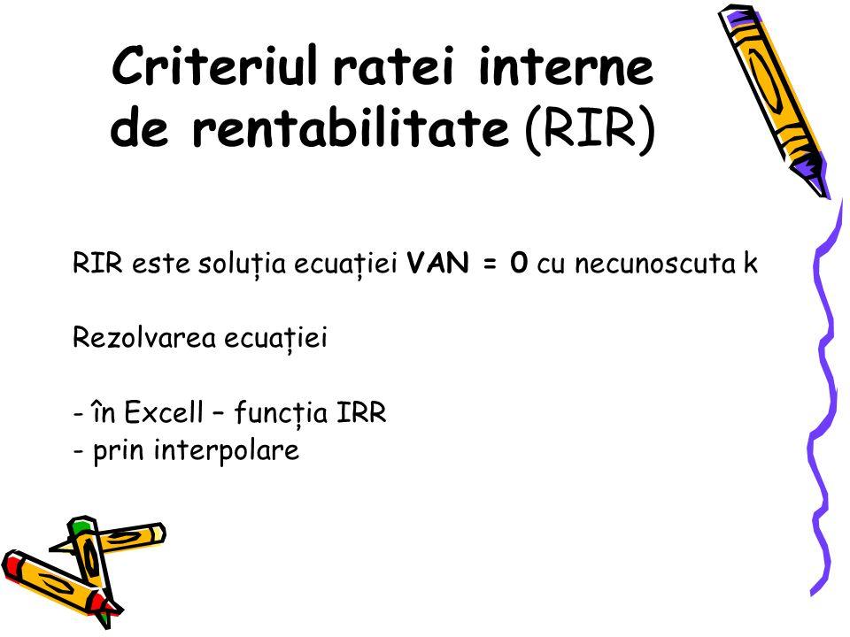 Criteriul ratei interne de rentabilitate (RIR)