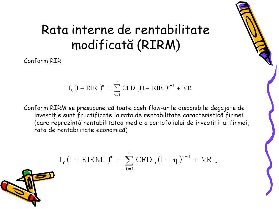 Rata interne de rentabilitate modificată (RIRM)