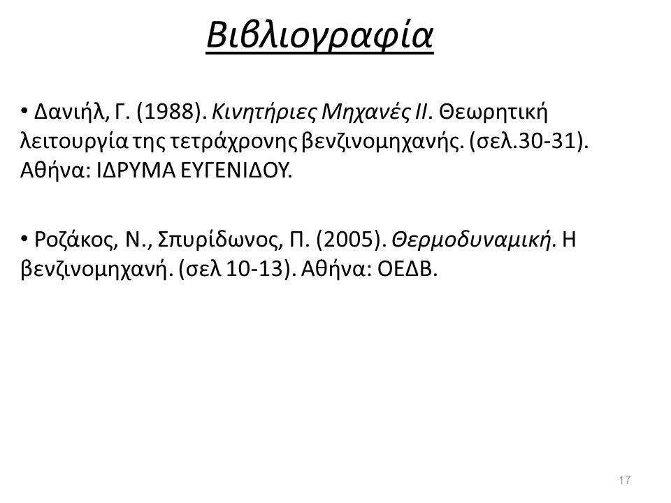 Βιβλιογραφία Δανιήλ, Γ. (1988). Κινητήριες Μηχανές ΙΙ. Θεωρητική λειτουργία της τετράχρονης βενζινομηχανής. (σελ.30-31). Αθήνα: ΙΔΡΥΜΑ ΕΥΓΕΝΙΔΟΥ.