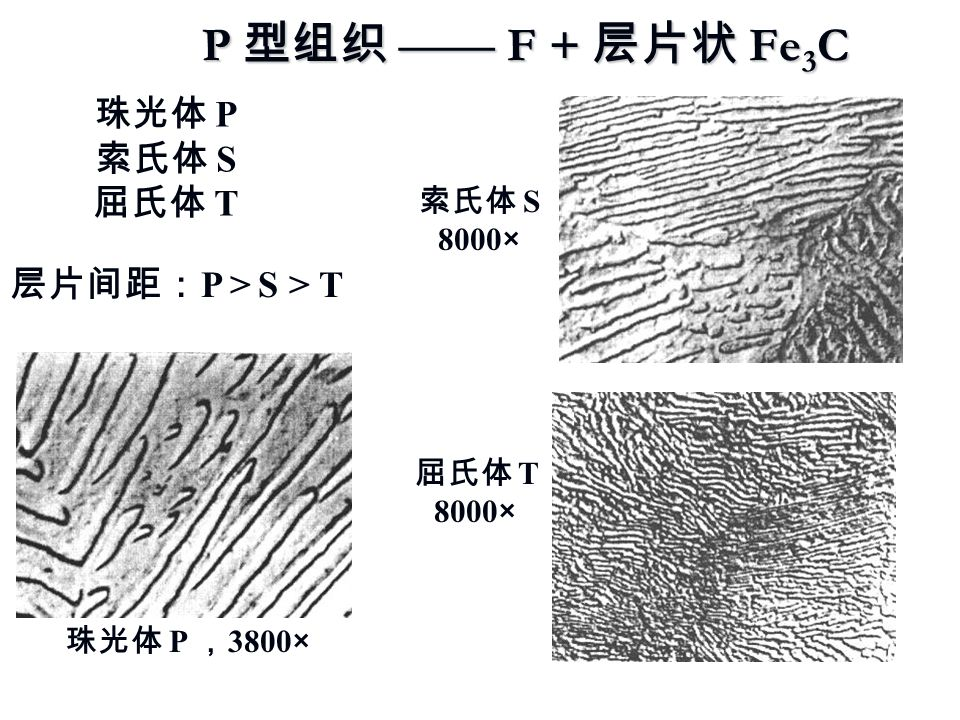 P 型组织 —— F + 层片状 Fe3C 珠光体 P 索氏体 S 屈氏体 T 层片间距:P > S > T