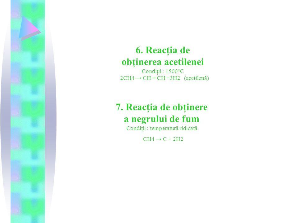 6. Reacţia de obţinerea acetilenei