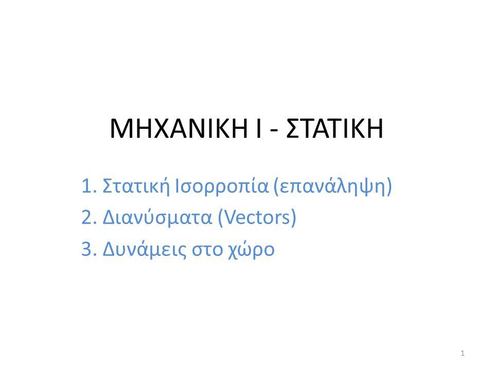 ΜΗΧΑΝΙΚΗ Ι - ΣΤΑΤΙΚΗ 1. Στατική Ισορροπία (επανάληψη)