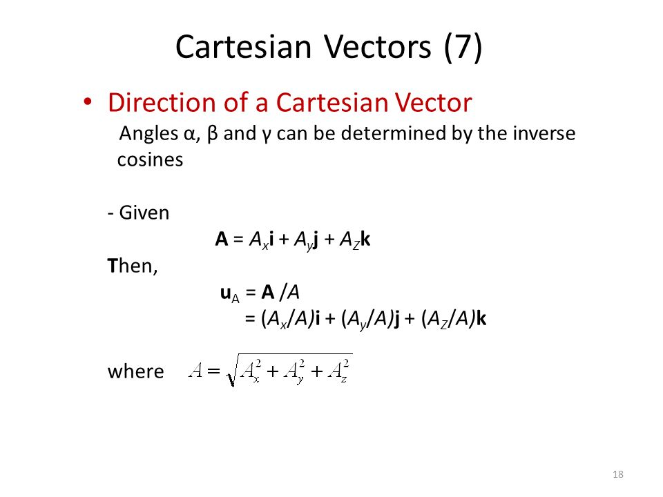 Cartesian Vectors (7) Direction of a Cartesian Vector