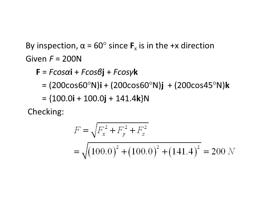 By inspection, α = 60° since Fx is in the +x direction