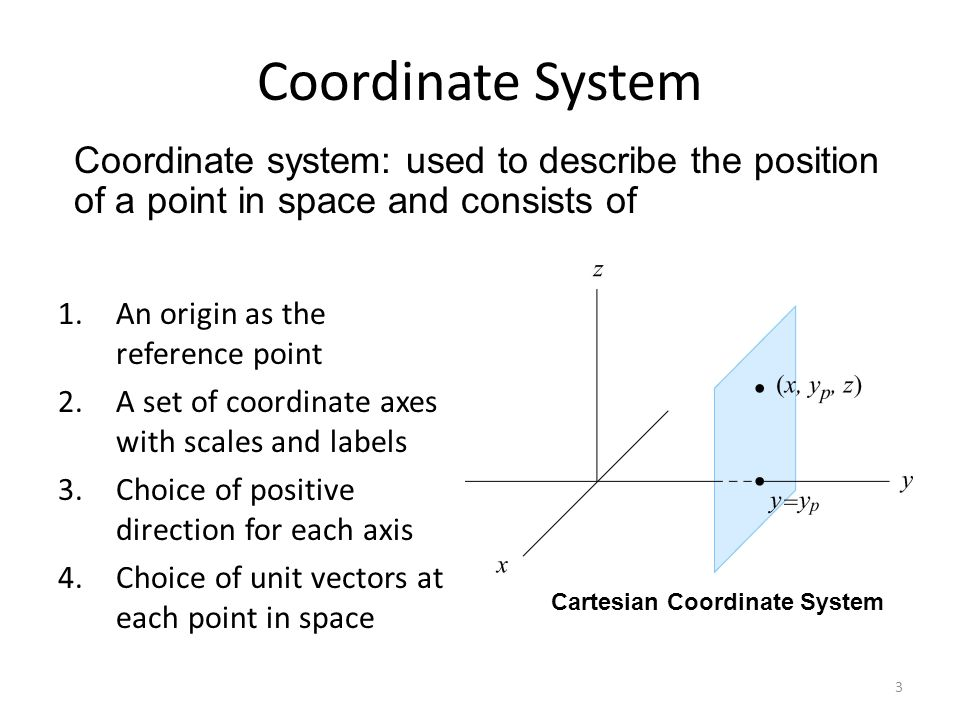 Coordinate System Coordinate system: used to describe the position of a point in space and consists of.