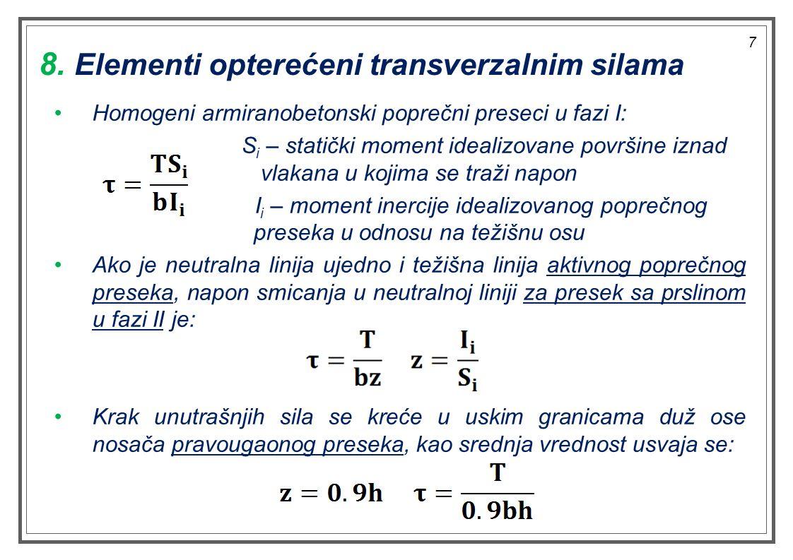 8. Elementi opterećeni transverzalnim silama