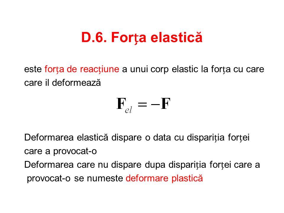 D.6. Forța elastică este forța de reacțiune a unui corp elastic la forța cu care. care il deformează.
