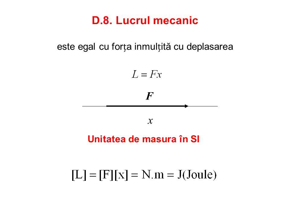 D.8. Lucrul mecanic este egal cu forța inmulțită cu deplasarea