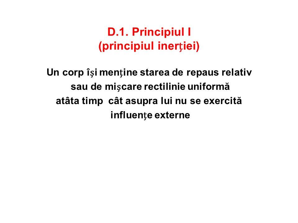 D.1. Principiul I (principiul inerției)
