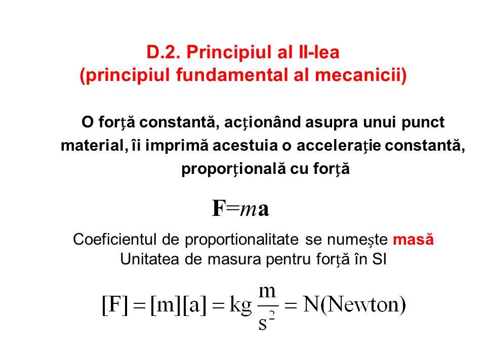 D.2. Principiul al II-lea (principiul fundamental al mecanicii)