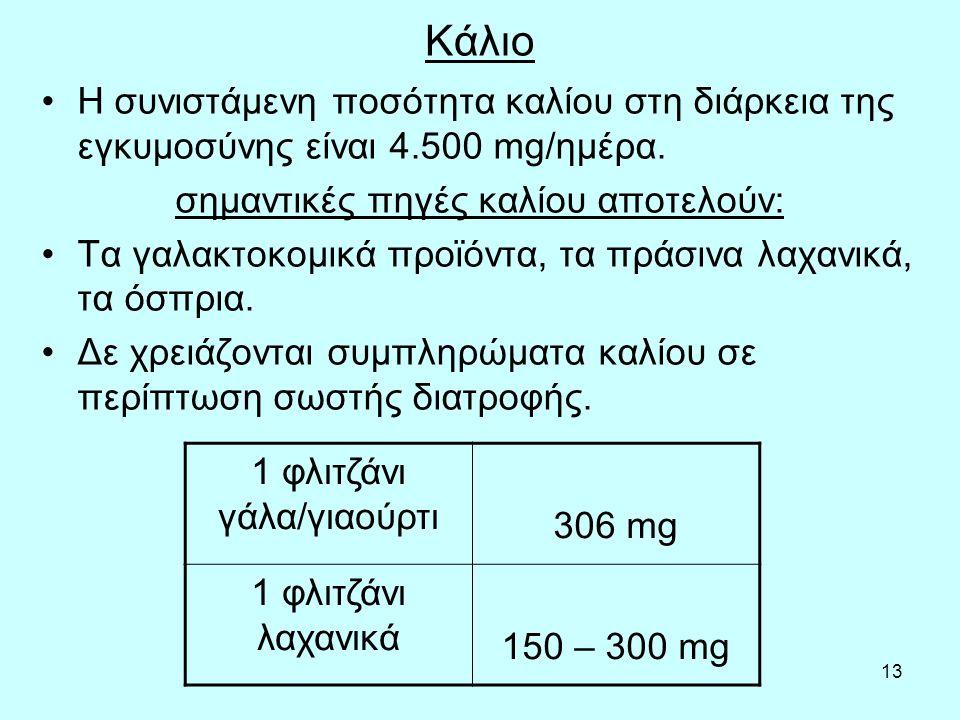 Κάλιο Η συνιστάμενη ποσότητα καλίου στη διάρκεια της εγκυμοσύνης είναι 4.500 mg/ημέρα. σημαντικές πηγές καλίου αποτελούν: