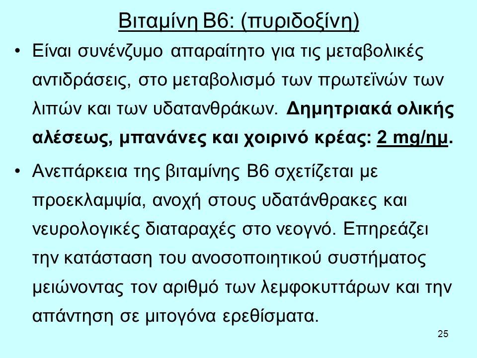 Βιταμίνη Β6: (πυριδοξίνη)